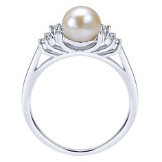 14k White Gold Grace Style  Fashion Ladies' Ring With  Diamond  With Pearl.