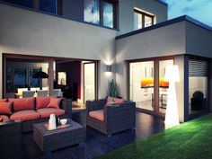 DIE LICHTUNG – der Gartenhof mit sichtgeschützter Logenterrasse und Kochbereich, Variante Klassik.