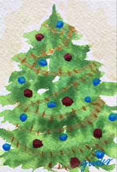 By Jeanette Crooks Watercolor Christmas Art, Christmas Tree, Holiday Decor, Teal Christmas Tree, Xmas Trees, Christmas Trees, Xmas Tree