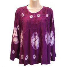 Plus Size Hippie Clothing India | GEETA Hippie Bohemian Gypsy Indian Embroidery Tie Dye Festival Smock ...