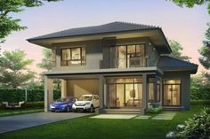 Double Storey House, 2 Storey House, Philippines House Design, Philippine Houses, Two Story House Plans, House Elevation, House Front, Modern House Design, My Dream Home
