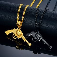 Gun Pendant Necklace Punk Rock Jewelry Men Women Revolver Gun Necklace Black/Gold Color Stainless Steel Choker Necklaces
