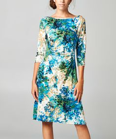 Look at this Black & Green Abstract Ruched Dress on #zulily today!