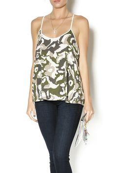 Silky camo printed cami style tank with a contrasting cream piping and racerback. Wear this stylish camo tank with light skinny jeans and taupe booties.   Camo Tank Clothing - Tops - Blouses & Shirts Clothing - Tops - Sleeveless Clothing - Tops - Casual Mississippi