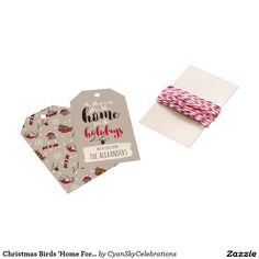 Christmas Birds 'Home For The Holidays' Personal Gift Tags @zazzle