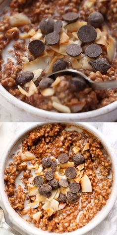 Chocolate Coconut Steel Cut Oats Here's how to make the BEST oatmeal ever - Chocolate Coconut Steel Cut Oats! This easy, healthy and homemade recipe is vegan and gluten-free Good Healthy Recipes, Healthy Breakfast Recipes, Quinoa Breakfast, Healthy Food, Healthy Oatmeal Recipes, Balanced Breakfast, Breakfast Bowls, Best Breakfast, Stay Healthy