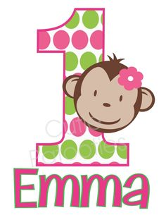 Personalized Pink Green Mod Monkey Birthday Party TShirt....have to get for lily monkey party.