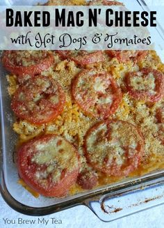 Baked Mac n' Cheese is a classic dish that everyone loves! This fun Baked Mac n' Cheese with Hot Dogs & Tomatoes is a kid-friendly dish that's easy to make!