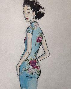 Instagram media by xique_chinoiserie - Watercolor cheongsam by @noahharuki. #Cheongsam #Qipao #China #VogueChina #ChineseStyle #ChineseDress #ChineseFashion #Oriental #MandarinCollar #Chinoiserie #Asian #AsianInspired #Vogue #Fashion #Chic #Style #Art #Creative #Inspiration #Timeless #Perfection #Blue #TurnAround #Flowers #Instafashion #InstaDaily #InstaLike #Watercolor #Drawing #ChineseInk