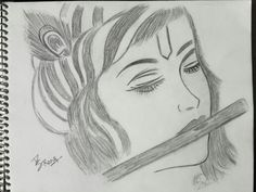Made ßy Me : Krishna Disney Drawings Sketches, Girl Drawing Sketches, Art Drawings Sketches Simple, Anime Girl Drawings, Girly Drawings, Art Drawings For Kids, Cool Drawings, Abstract Pencil Drawings, Art Inspiration Drawing