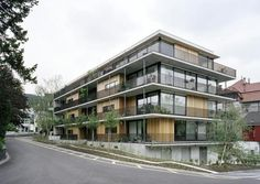a f a s i a: Gret Loewensberg Green Architecture, Residential Architecture, Architecture Design, Condo Design, Balcony Design, Building Facade, Building Design, Habitat Collectif, Small Buildings