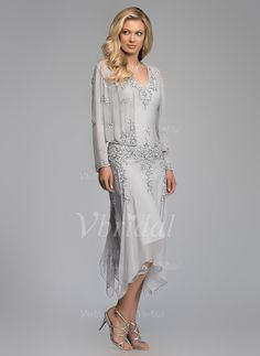 A-Line/Princess V-neck Asymmetrical 30D Chiffon Mother of the Bride Dress With Beading Appliques Lace Cascading Ruffles (0085101833) - Vbridal