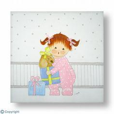 Cuadro infantil personalizado: Bebé con sus regalos (ref. 10212)