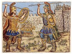 Duel of Achilles and Hector outside the fortress of Troy