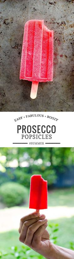 With only 4 ingredients these raspberry Prosecco popsicles are as breezy as they are boozy. Perfect for summer. Mini Desserts, Frozen Desserts, Frozen Treats, Frozen Drinks, Popsicle Recipes, Snack Recipes, Dessert Recipes, Dinner Recipes, Popsicle Molds