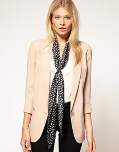 really like this beige blazer and silk scarf