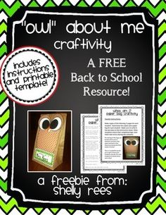 """Owl"" About Me Craftivity - FREE Back to School Craftivity! Maybe for GT students Owl Theme Classroom, Classroom Crafts, Classroom Activities, Classroom Ideas, Classroom Procedures, Teaching Boys, Teaching First Grade, Teaching Ideas, Teaching Style"