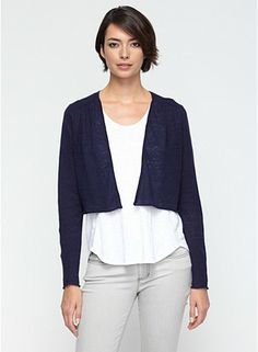 Angle Front Cropped Cardigan in Lightweight Organic Fine Linen Gauge  #wardrobechallenge This cardigan looks easy.
