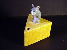 Mouse on Cheese Stringholder Babbacombe Pottery England Lownds Pateman
