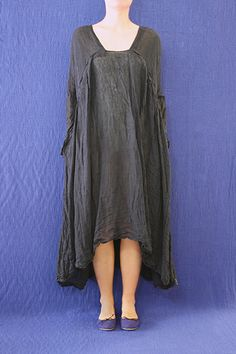 a185dw.l7.12.1 washed mafalda dress with vertical neck