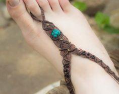 Tribal Macrame Single Barefoot Sandal goa Festival Beach/ Ankle bracelet