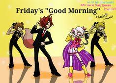 "Friday's ""Good Morning"" Foxy, Freddy, Mangle and Golden Freddy Freddy S, Fnaf Golden Freddy, Five Nights At Freddy's, Fnaf Pole Bear, Bear Tumblr, Creepy Games, Foxy And Mangle, Fnaf Sl, Fnaf Sister Location"