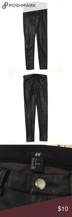 """NWOT- H&M Faux Leather Pants New Faux leather pants from H&M. Front button is a bit faded. Size 4, 30"""" inseam. Low rise waist. 100% polyester. Skinny leg cut H&M Pants Skinny"""