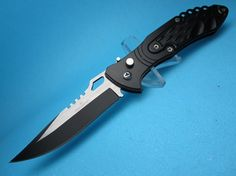 """The  Black ASP Tactical....A Great Affordable EDC (Every Day Carry ) A Very Nice Piece .....at a Very Nice Price  !  440 SS Two Tone Drop Point Blade 8 """" overall...... Also comes with a Safety & Pocket Clip."""