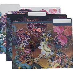 Cynthia Rowley Fashion File Folders, Assorted Floral Print, 6 pack