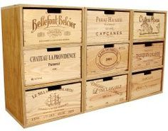 Grand cube chest of drawers built with wine crates Wine Crate Table, Wooden Wine Crates, Farmhouse Furniture, Diy Furniture, Wine Storage, Crate Storage, Wine Cellar, Sideboard, Google