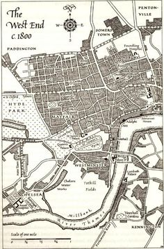 Regency London - The West End in including Grosvenor Square, where Andre and Devon Raveneau have a home in Smuggler's Moon. London 1800, Old London, Vintage London, Victorian London Map, London Art, London History, British History, Vintage Maps, Antique Maps