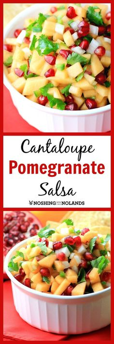 Holiday Cantaloupe Pomegranate Salsa by Noshing With The Nolands is a refreshing appetizer full of flavor and festive colour.  A superb choice for your guests New Year's Eve!