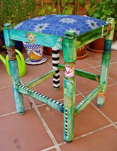 Painted stool by Phizzychick!