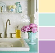 Lizzie Jones April Color Play: Lemon Tart, Aqua Mist, Lavendar Moon, Plum Pudding Colors for Little Miss' Room Kitchen Colour Schemes, Kitchen Colors, Pink Color Schemes, Purple Colors, Color Combinations, Paredes Aqua, Lila Palette, Purple Kitchen, Kitchen Grey