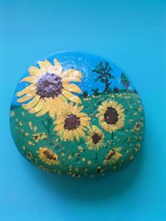 Painted Rock / Sunflower Fields / Montana River Stone