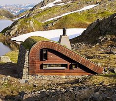 this hunting lodge by @snohetta is situated beside a lake in the untouched mountain areas of western norway. it is accessible only by foot or horseback.  by @jamessilvermanphoto  see more #architecture by #snohetta on #designboom by designboom