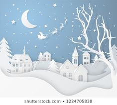Similar images, stock photos, and vector graphics of merry christmas and happy new year. Illustration of Santa Claus in the sky coming into the city, paper art and digital craftsmanship - 522579127 - Christmas Villages, Merry Christmas And Happy New Year, Christmas Paper, New Year Illustration, Winter Illustration, Licht Box, Paper Art, Paper Crafts, New Years Decorations