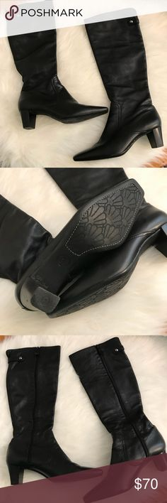 Cole Haan Tall Black Leather Riding Boots Beautiful!  These boots are in beautiful condition! Cole Haan Shoes Combat & Moto Boots