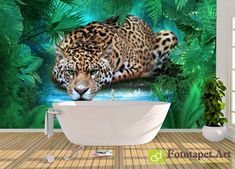 Photo wallpaper, Animals - - All wallpapers shown on the site are printed on a firm order, according to the customer's size, the chosen image and the desired texture. Wallpaper Please, Any Images, Photo Wallpaper, Ecology, Fresco, Jaguar, Wall Murals, Latex, Canvas