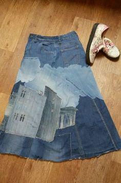 Cheap High Fashion Women S Clothing Code: 3033034195 Recycled Fashion, Recycled Denim, Denim Fashion, Fashion Women, High Fashion, Jeans Patch, Denim Ideas, Handmade Skirts, Denim Crafts