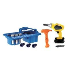 Little do-it-yourselfers will love working alongside Dad (or Mom) with their very own working drill. Drill and remove screws with forward and reverse drilling action with sound. There's even an interchangeable drill bit and a hammer and nails to pound into the take-along caddy (everything stores in there, too).