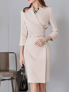 Buy Casual Dresses Midi Dresses For Women from YZL Studio at Stylewe. Online Shopping Stylewe Casual Dresses Wrap Dresses Office & Career Sheath Surplice Neck Work Sleeve Wrap Dresses, The Best Business Midi Dresses. Casual Dress Outfits, Mode Outfits, Trendy Dresses, Elegant Dresses, Nice Dresses, Fashion Dresses, Dresses For Work, Wrap Dresses, Maxi Dresses