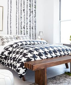 Love this Black Houndstooth Duvet Cover by Fab on #zulily! #zulilyfinds