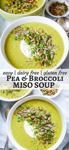 Pea and Broccoli Miso Soup is nourishing, comforting and easy to make. Gluten free, dairy free and sugar free, a healthy vegan hug in a bowl! Recipe via nourisheveryday.com