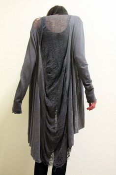 Shredded Cardigan Slouch Layering Grunge Grey by commeonveut