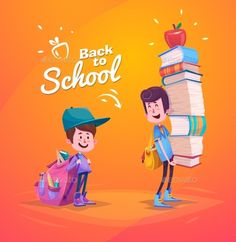 Back To School. Two Cute Schoolchild With Supplies