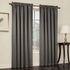 Sun Zero Semi-Opaque Steel (Silver) Gregory Room Darkening Pole Top Curtain Panel, 54 in. W x 95 in. L