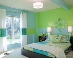 DECORATE WITH BLUEISH GREEN | This room cleverly extends the stripe across the window treatment too ...