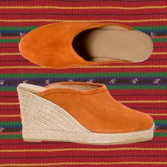 CUCA Toni Pons suede espadrille clogs at EspadrillesEtc Designer Espadrilles, Women's Espadrilles, What's My Favorite Color, My Favorite Things, On The Road Again, Orange You Glad, Orange Things, Beach Shoes, Orange Juice