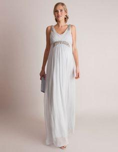 Vestido premamá largo de estilo griego - Gris Stylish Maternity, Maternity Gowns, Maternity Fashion, Nice Dresses, Formal Dresses, Pregnancy Stages, Mom Dress, Bridesmaid Dresses, Wedding Dresses